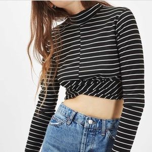 Topshop Striped Mock Neck Crop Top